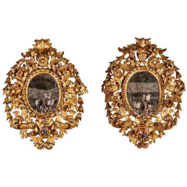 Antonios Bella Casa - Spectacular, Period, Italian Candelabra Mirrors - antique mirror, antique mirros, vintage mirror, vintage mirrors