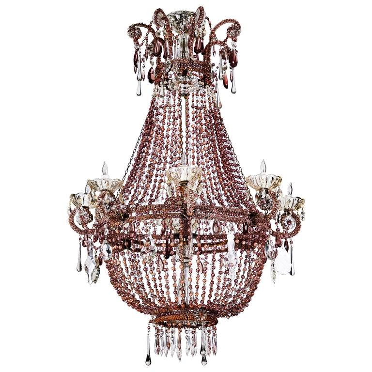 Antonios Bella Casa - Grand, Lavender Crystal Chandelier - antique chandelier, antique lighting, vintage lighting, vintate chandelier
