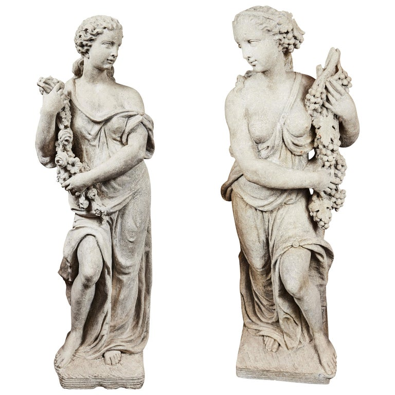Antonios Bella Casa - Left and Right, Italian Limestone Nymphs - antique statues, antique sculptures, vintage statues, vintage sculptures, sculpture art