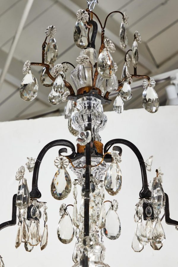 Antonios Bella Casa - 1900s, Iron and Crystal Chandelier - chandelier, antique chandelier, antique lighting, vintage lighting, vintage chandelier