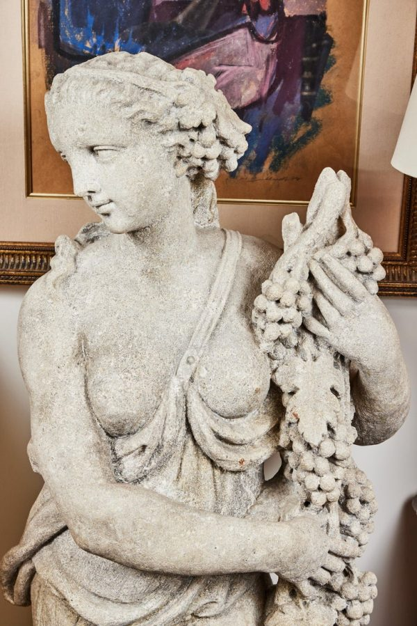 Antonios Bella Casa - Left and Right, Italian Limestone Nymphs - antique statues, antique sculptures, vintage statues, vintage sculptures, sculpture art